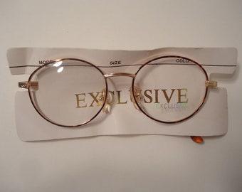 2ec388dcfe Exclusive Eyewear Eyeglass Frames Round Tortoise 18K GP Gold Plate Vintage  Retro 48 18 140 Lot 102 NOS