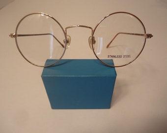 053555514e Harry Potter Type Eyeglass Frames Round Metal Gold Eyeglasses Vintage Retro  41 18 145 Lot 162 NOS
