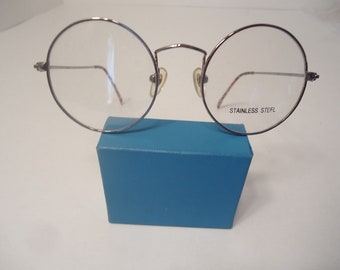 c94fb4834b7 NOS Vintage Harry Potter Type Round Eyeglass Frames Gunmetal 44 18 145 Lot  166