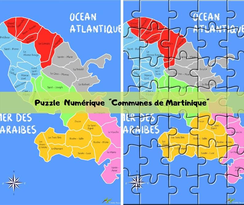 carte de la martinique à imprimer Carte de la Martinique : Puzzle communes de Martinique à | Etsy