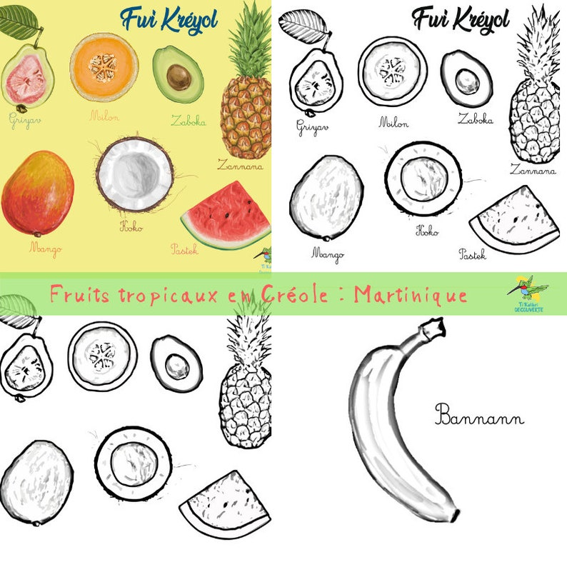 Coloriage Fruits Tropicaux.Coloriages Les Fruits En Creole Fwi Kreyol Martinique 13 Etsy