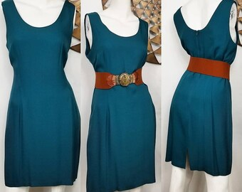 23257a0eccd 1980 s Teal Dress FREE SHIP