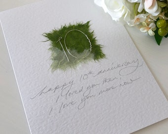 b5fc1a96823 10th tin wedding anniversary handmade card Personalised names date married  10 years your tenth wedding card On our 10th anniversary tin gift