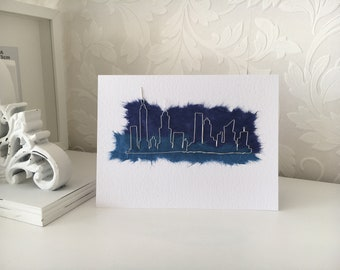 New York City Manhattan Skyline Handmade Wire Greeting Card NYC Landmarks Personalised Birthday Special Occasion Customized Yorker
