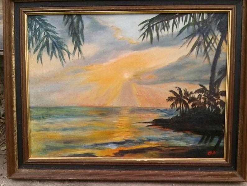 Bahamas Sunset oil on board Viola Luebbe  Ola
