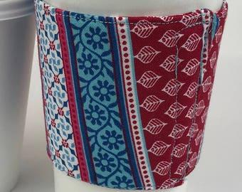 Geometric Print Fabric coffee cozy / coffee cup holder / coffee sleeve