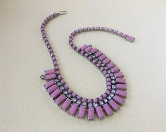 Vintage Pretty in Pink Milk Glass Necklace
