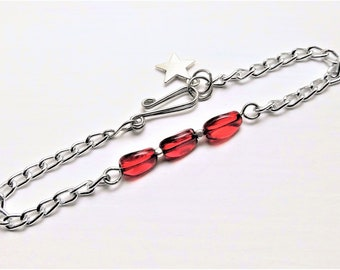 Red Glass Beaded Chain Bracelet // Add a Charm