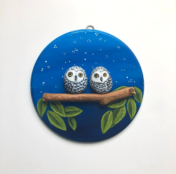 Owl gifts for her, Pebble art with Owl painted rocks, Best friend gifts
