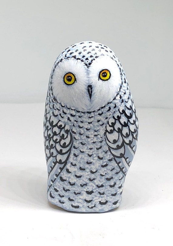 Snowy owl gifts for women, hand painted rocks for home decor