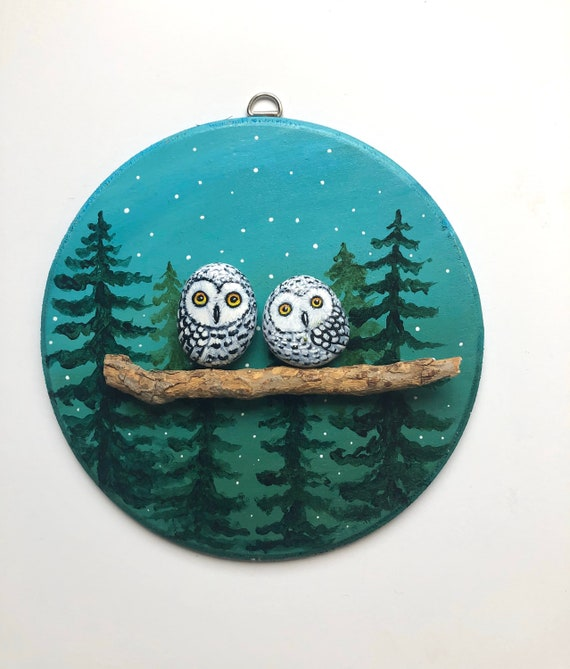 Pebble art with owl painted rocks, Personalized gifts for her, pebble pictures