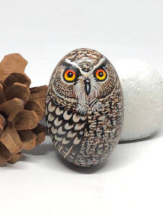 Small Eagle Owl Painted Rocks, Owl Gifts for Women, Unique hand painted stones for garden decor