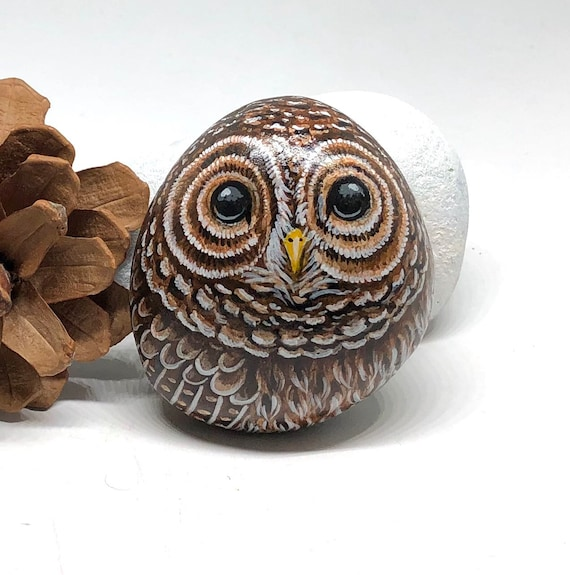 Small Barred Owl Painted Rocks, Owl Gifts for Women, Unique hand painted stones for garden decor