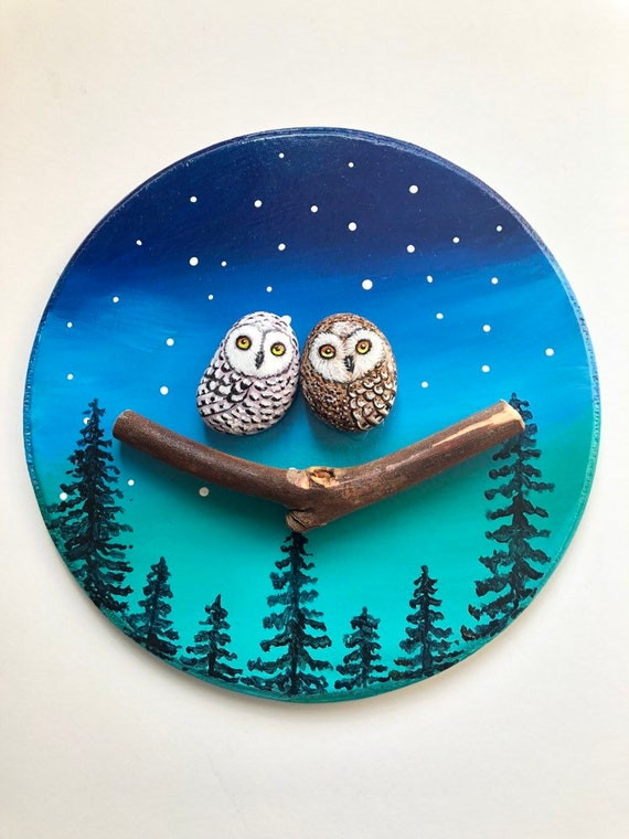 Painted rock owls in Northern Sky, Unique Gift for nature lovers