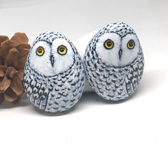 Two Snowy Owl Painted Rocks, unique owl painted stones for gift and room decor