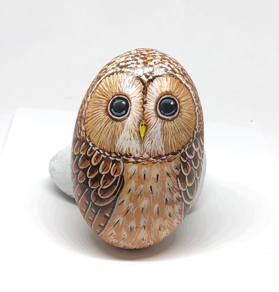Tawny Owl Painted Rocks, Owl Gifts for Women, Unique hand painted stones for garden decor