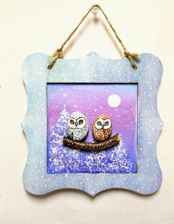 Pebble art with owl painted rocks, Small unique gifts for Christmas