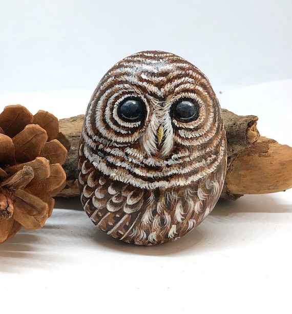 Barred Owl Painted Rock Gifts for Women, Unique hand painted stones for garden decor