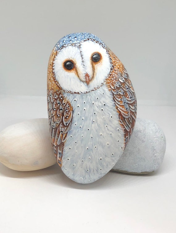 Barn owl painted rocks gifts for women, Unique hand painted owl stones for home decor and gifts