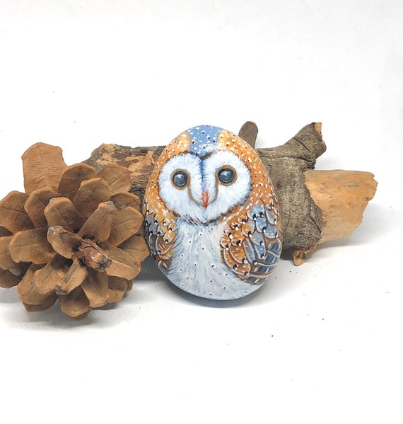 Barn Owl Painted Rock, All Sides Hand Painted Unique Stone Art for Owl Lovers
