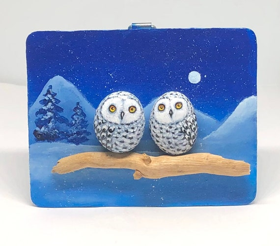 Christmas gifts for her with Snowy Owl Painted rocks, Owl painted rocks pebble art gifts for friends, Unique home decor