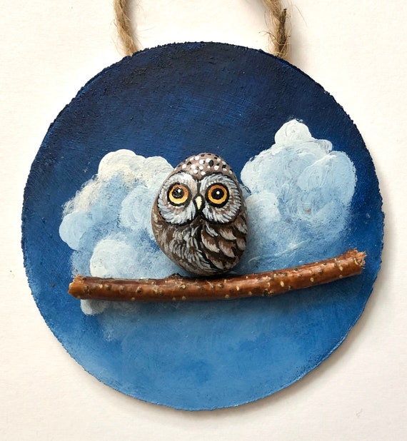 Owl painted rock ornament, Unique owl gifts for her