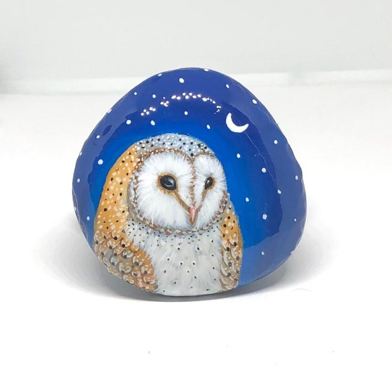 Barn Owl and Moon Painted Rocks, Hand Painted Unique Stone Art for Owl Lovers