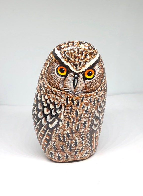Eagle owl painted rocks, Owl gifts for women, painted rocks for home and garden decor