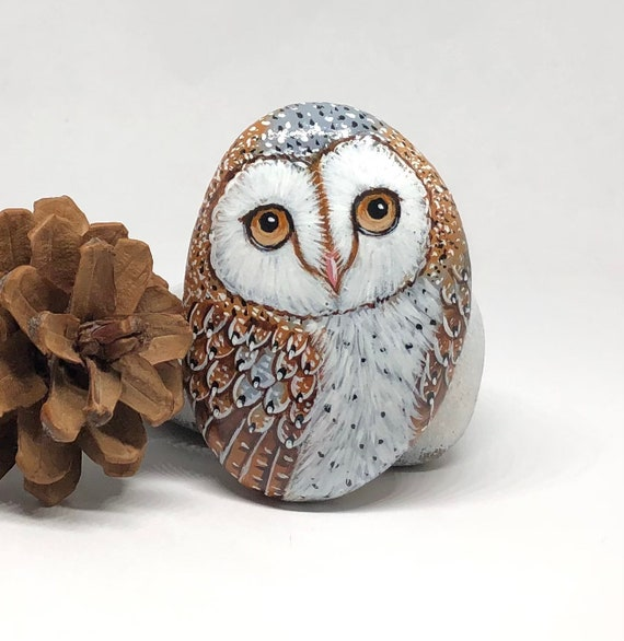 Cute Barn Owl Painted Rocks, All Sides Hand Painted Unique Stone Art for Owl Lovers