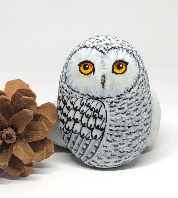 Snowy Owl Painted Rocks, Hand Painted Unique Owl Decoration for owl lovers