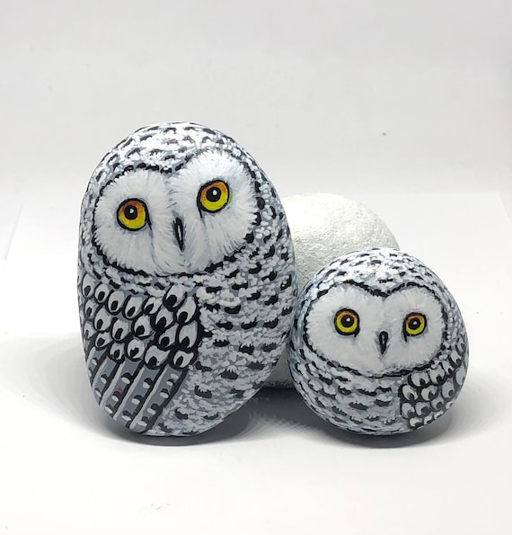 Mothers day gifts of Mom and Baby Snowy Owl Painted Rocks, owl gift for women, Hand Painted Unique Owl Gifts for owl lovers