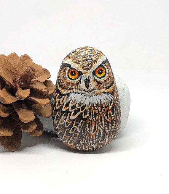 Small Eagle owl Gifts for women , Owl painted rocks art for room decor, unique owl gifts, bird painted stones