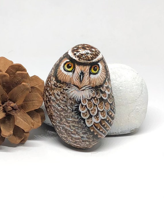 Small Great Horned Owl Gifts for women , Owl painted rocks art for room decor, unique owl gifts, bird painted stones