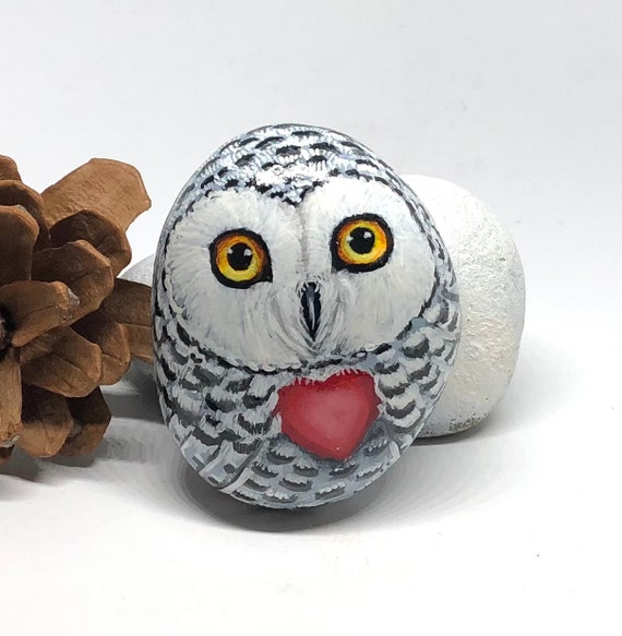 Valentine snowy owl painted rocks, small cute owl gift for her ,Valentines day decor