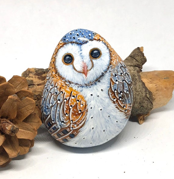 Barn owl painted rocks, unique  hand painted stones for home decor and gifts