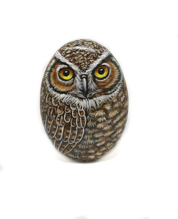 Hand Painted Great Horned Owl rock gifts for women, Both Side Painted stone owl for owl lovers