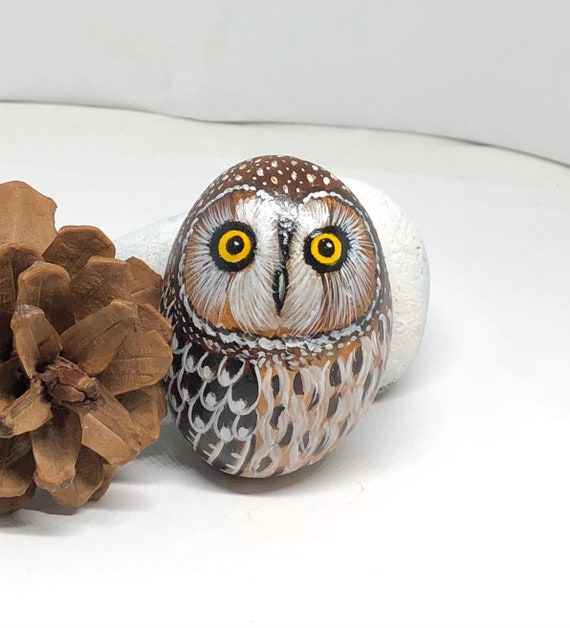 Short-eared Owl Painted Rocks, Owl Gifts for Women, Unique hand painted stones for garden decor