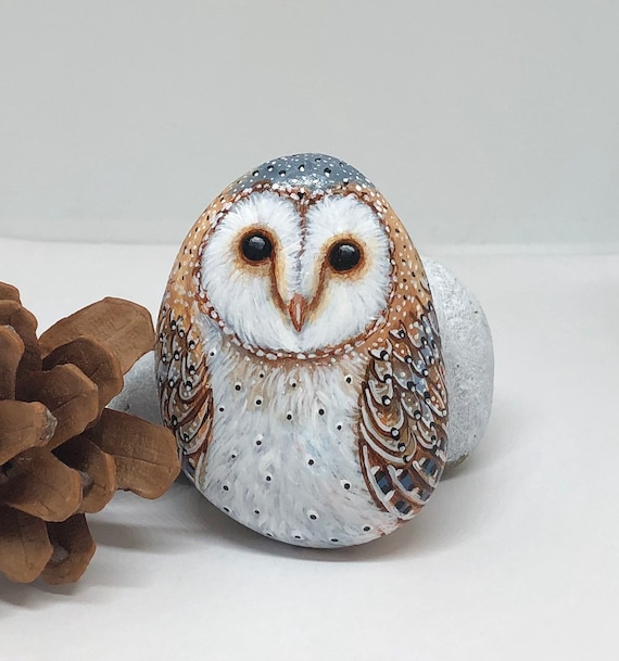 Hand painted Barn owl painted rocks, unique painted stones for home decor and gifts