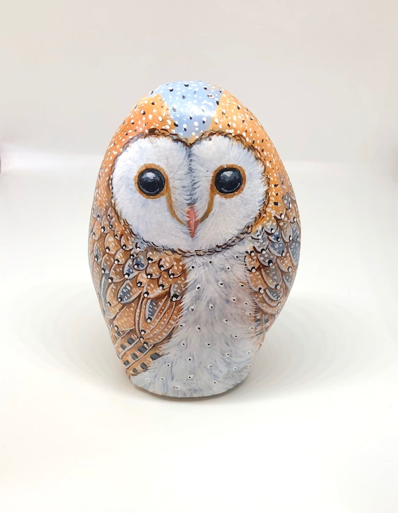 Painted Rocks Barn Owl, Self standing Barn owl rock painted on all sides