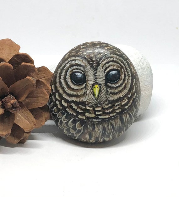 Owl Painted Rocks, Barred Owl Gifts for Women, Unique hand painted stones for garden decor