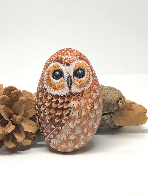 Cute Owl Painted Rock Art, unique owl gifts and room decor, painted stones for garden decor