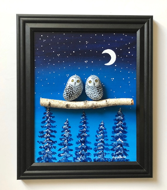 Pebble art with owl painted rocks, Unique gifts for owl lovers