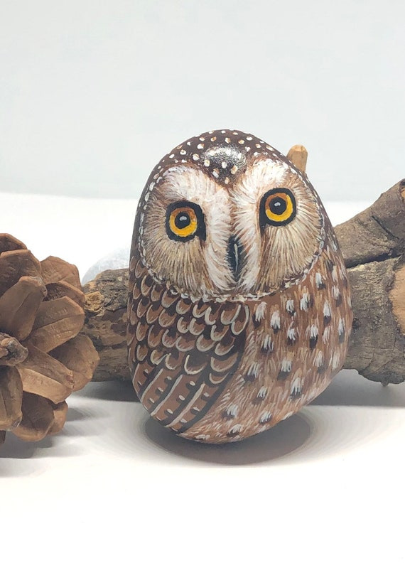 Saw Whet Owl Painted Rocks, unique owl gifts and room decor, painted stones for garden decor