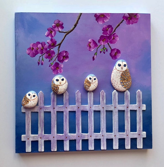 Owl gifts for her, Barn Owl painted rocks wall art