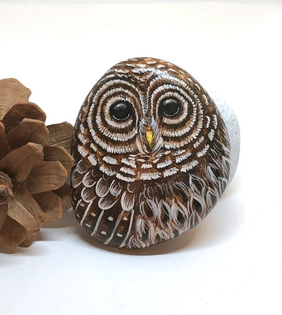 Barred Owl Painted Rocks, Owl Gifts for Women, Unique hand painted stones for garden decor