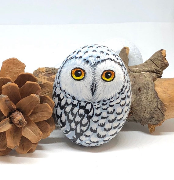 Snowy Owl Painted Rocks gift for women, Hand Painted Unique Owl Gifts for owl lovers