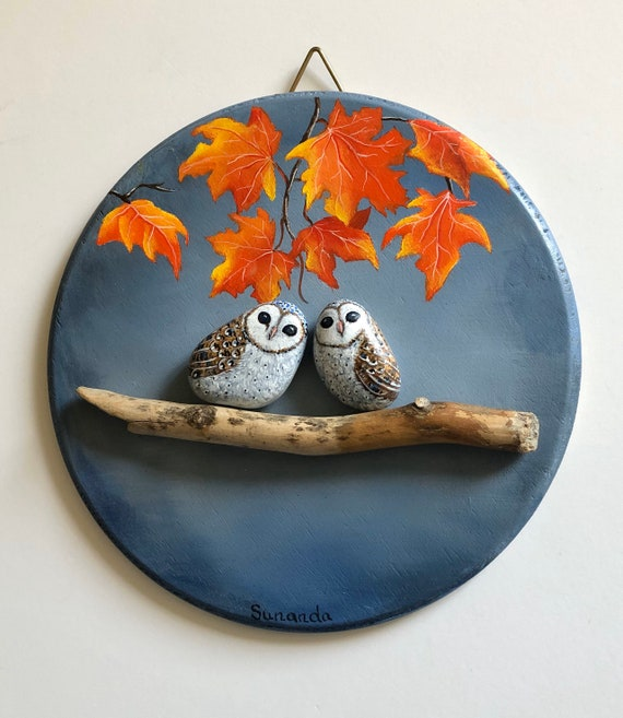 Barn Owl Painted Rocks pebble art in Autumn, Owl gifts for women