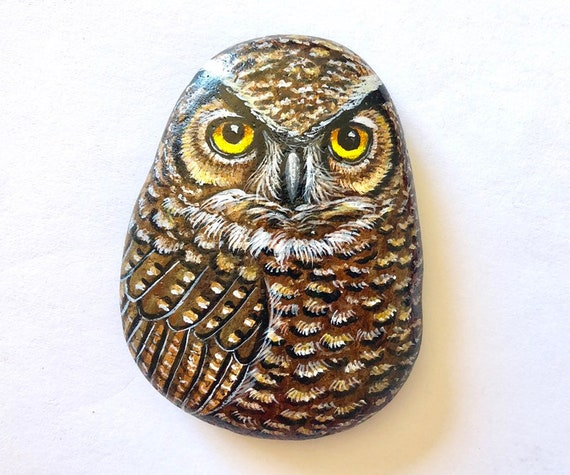 Great Horned Owl gifts for women, Painted rock owl for owl lover