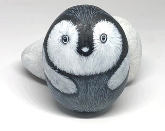 Small penguin chick painted rocks, Unique painted animal stones for gifts and decor