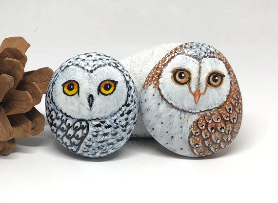 Set of a Snowy Owl and Barn Owl Painted Rocks, unique owl painted stones for gift and room decor